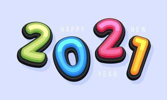 vetor feliz ano novo 2021 bonito cartão de felicitações para crianças. letras do alfabeto engraçadas, números, símbolos. fonte multicolorida contém estilo gráfico