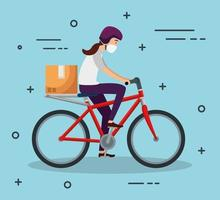 mensageiro de bicicleta com máscara facial vetor
