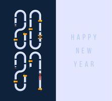 cartão de feliz ano novo 2021 com fonte industrial de tubulação de água de desenhos animados com ilustrações planas de serviço de encanamento. vetor