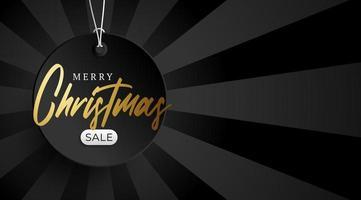 banner de venda dourado de feliz Natal. etiqueta de preço redonda pendurada em um fio em um fundo preto luxuoso com espaço vazio para texto