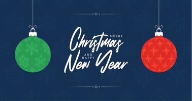 cartão de Natal. cartão de natal ou ano novo retrô com duas bolas de cor vermelha e verde com forma de estrela e floco de neve dentro. ilustração vetorial em estilo simples vetor