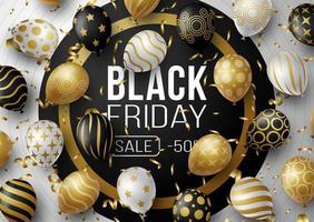 cartaz de promoção de venda sexta-feira negra ou banner com balões. oferta especial 50 off sale no estilo preto e dourado. promoção e modelo de compras para sexta-feira negra