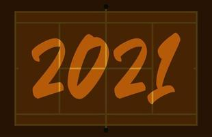 2021 feliz ano novo cartão quadra de tênis com letras. fundo de campo de tênis criativo para a celebração do Natal e ano novo. cartão do esporte vetor