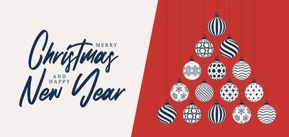 Natal e ano novo cartão plana dos desenhos animados. árvore de Natal criativa feita bolas de bugiganga brancas azuis sobre fundo vermelho para a celebração do Natal e do ano novo. vetor