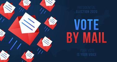 votar por ilustração vetorial de correio. conceito de ficar seguro para a eleição presidencial de 2020 nos Estados Unidos. modelo para plano de fundo, banner, cartão, pôster com inscrição de texto.