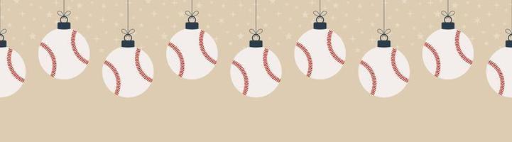 Feliz Natal beisebol sem costura padrão horizontal. pendurar em uma bola de beisebol de desenho liso de thread como uma bola de Natal em fundo horizontal dourado ilustração em vetor esporte.