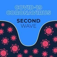 covid-19 segunda onda. gráfico mostrando a magnitude da segunda onda de infecção por coronavírus. ilustração vetorial de estoque