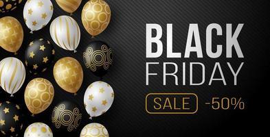 banner horizontal de venda sexta-feira preta com balões brilhantes pretos, brancos e dourados sobre fundo preto com lugar para texto. ilustração vetorial.