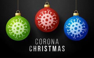 conceito de natal corona. três bolas de natal com covid-19 coronavirus ícone conceito inscrição tipografia design logo, doenças contagiosas dos personagens quando expostos a uma ilustração vetorial de vírus vetor