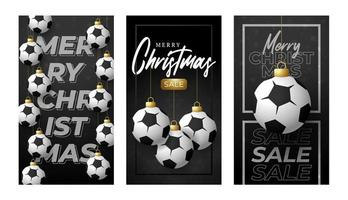Feliz Natal futebol cartão vertical. vetor