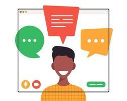 estudante africano conversando durante videochamada vetor