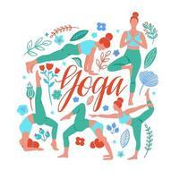 um conjunto de design de poses de ioga