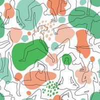 padrão sem emenda de design verde azul da aula de ioga