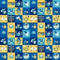 conjunto de símbolos de hanukkah chanukah do feriado judaico vetor