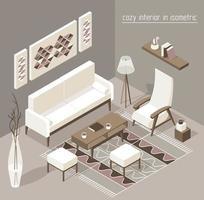ilustração gráfica do conjunto detalhado isométrico da sala de estar