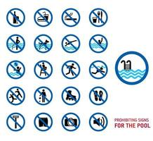 conjunto de ícones de regras de piscina vetor