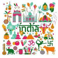 conjunto de ícones tradicionais da índia vetor