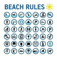 conjunto de ícones de regras de praia e placas em branco vetor