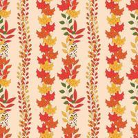 Outono padrão sem emenda com elementos decorativos florais, design colorido.