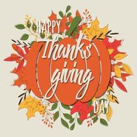 cartão de feliz dia de ação de Graças com elementos decorativos, design colorido.