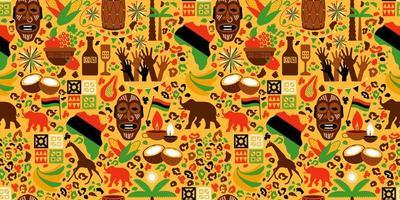 padrão sem emenda de elementos africanos vetor