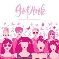 ilustração em banner do mês de conscientização do câncer de mama vetor