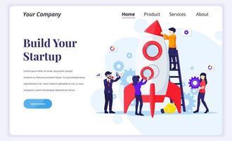 conceito de design de página de destino de início de negócios vetor