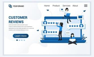 cliente analisa o conceito, uma mulher dando estrelas, classificação, feedback, satisfação e avaliação. moderno design de modelo de página de destino plana para site e site móvel. ilustração vetorial