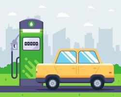 posto de gasolina com carro por perto vetor