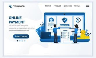 ilustração em vetor do conceito de pagamento online com pessoas que fazem transações de pagamento. moderno design de modelo de página de destino de web plana para site e site para celular. estilo cartoon plana
