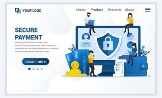 ilustração em vetor de pagamento seguro ou conceito de transferência de dinheiro com personagens. moderno design de modelo de página de destino de web plana para site e site para celular. estilo cartoon plana