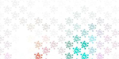 padrão de vetor verde e vermelho claro com elementos de coronavírus.