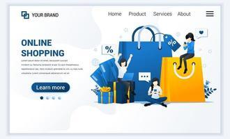 ilustração em vetor de compras online, e-commerce e conceito de varejo. moderno design de modelo de página de destino de web plana para site e site para celular. estilo cartoon plana