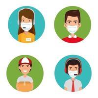 grupo de agentes de um call center com máscaras faciais vetor