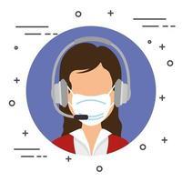 Agente feminina de call center com máscara facial vetor