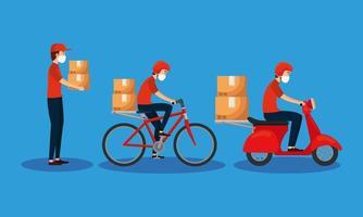 correio de entrega e banner de logística vetor