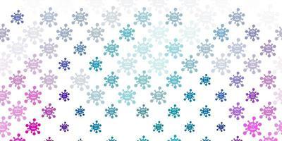 padrão de vetor azul claro e vermelho com elementos de coronavírus