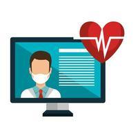 medicina online com médico e computador desktop vetor