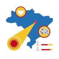 mapa do brasil com ícones e informações covid-19, ícone de estilo simples vetor