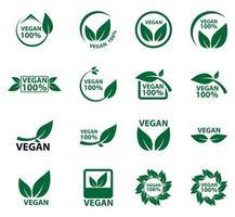 Conjunto de ícones veganos de bioecologia vetor