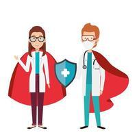 médicos usando máscaras como super-heróis vetor