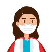 médica usando uma máscara facial como uma super heroína vetor