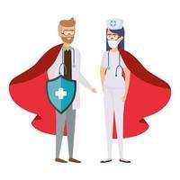 profissionais de saúde usando máscaras faciais como super-heróis