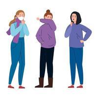 mulheres com sintomas de coronavírus vetor