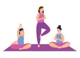 mulheres se exercitando e fazendo ioga juntas vetor