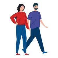 jovem casal caminhando juntos vetor