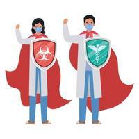 mulher e homem médicos heróis com capas e escudos contra o design de vetor de vírus ncov 2019
