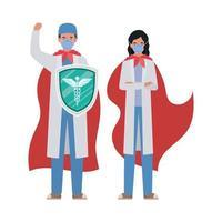mulher e homem médicos heróis com capas e escudo contra design de vetor de vírus ncov 2019
