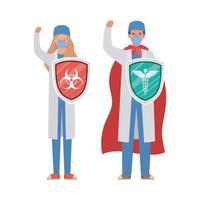 mulher e homem médicos heróis com capa e escudos contra design de vetor de vírus ncov 2019