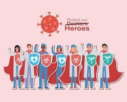 Homens e mulheres médicos heróis com capas e escudos contra o design de vetor do vírus ncov 2019